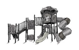 Sketch of playground zone for kids, illustration vector Stock Photography