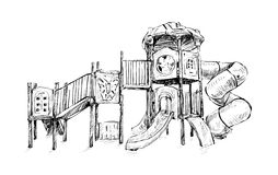 Sketch of playground zone for kids, illustration vector Royalty Free Stock Photos