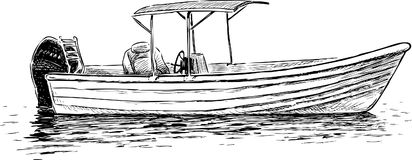 Sketch of a pleasure motorboat Royalty Free Stock Photos
