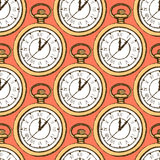 Sketch pocket watch in vintage style. Vector seamless pattern Royalty Free Stock Photos
