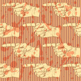 Sketch pointing hand, vector seamless pattern Royalty Free Stock Images