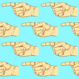 Sketch pointing hand, vector seamless pattern Royalty Free Stock Image