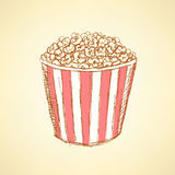 Sketch pop corn in vintage style Royalty Free Stock Photos