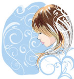 Sketch a portrait of a beautiful girl Stock Images