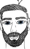 Sketch portrait of male face with blue eyes. Vector image, drawn by hand. Royalty Free Stock Photo