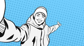 Sketch Portrait Of Young Man In Winter Clothes Take Selfie Photo Pointing hand To Copy Space Over Colorful Retro Style Stock Photography