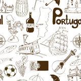 Sketch Portugal seamless pattern Royalty Free Stock Photography