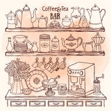 Sketch of pots, cups, coffee machine in the cupboard. Dishes on the shelves Stock Images