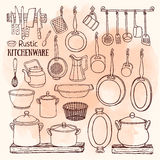 Sketch of pots, pans on watercolor background in country style. Hand drawn vector set of  rustic kitchen. Sketch of pots and pans on the shelves on the Royalty Free Stock Photo