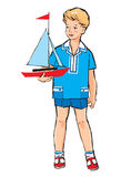 Sketch of Pretty boy with boat model Royalty Free Stock Photos