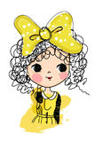 Sketch pretty girl Royalty Free Stock Images