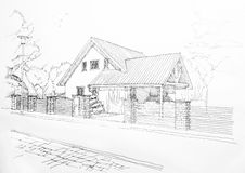 Sketch of a privat house Stock Photos