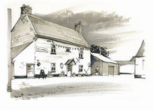 Sketch of Public House, Norfolk, UK Stock Images