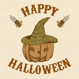 Sketch pumpkin in hat in vintage style. Hand drawn pumpkin in hat in vintage style, vector card Royalty Free Stock Images