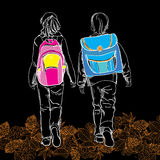 Sketch pupils boy and girl with schoolbag on black background wi Stock Photos