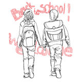 Sketch pupils boy and girl with schoolbag and text Back to schoo Stock Photos