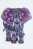 Sketch purple elephant with beautiful patterns. Stock Photography