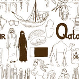 Sketch Qatar seamless pattern Royalty Free Stock Photography