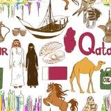 Sketch Qatar seamless pattern Stock Photo