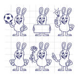 Sketch Rabbit Holds Soccer Ball Empty Nameplate Flower Set. Characters. Vector Illustration. Mascot Character Stock Photo