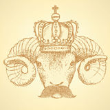 Sketch ram in crown with mustache Royalty Free Stock Photo