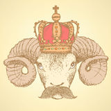 Sketch ram in crown with mustache Royalty Free Stock Photos