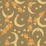 Sketch Ramadan symbol in vintage style Stock Image