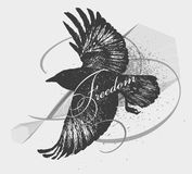 Sketch of a raven. Royalty Free Stock Photos