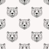 Sketch realistic face Bear seamless pattern. Hand drawn  Stock Image