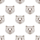 Sketch realistic face brown Bear seamless pattern. Hand drawn ve Stock Photos