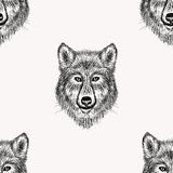 Sketch realistic face Wolf seamless pattern. Hand drawn  Royalty Free Stock Photos