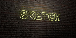 SKETCH -Realistic Neon Sign on Brick Wall background - 3D rendered royalty free stock image Stock Photos