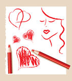 Sketch of red hearts and beautiful woman Royalty Free Stock Photo