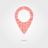 Sketch red pin with shadow Royalty Free Stock Photo