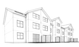 Sketch residential terraced houses. Residential  building – single sketch 3D visualization model terraced house on white background Royalty Free Stock Image