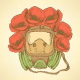 Sketch respiratory mask with poppies in vintage style Stock Photos