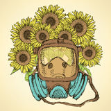 Sketch respiratory mask with sunflower Stock Photo