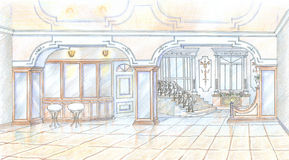 Sketch of restaurant in classic style Stock Image