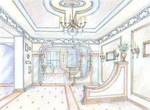 Sketch of restaurant hall Stock Image