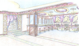 Sketch of restaurant hall with bar. Hand drawn sketch of interior of restaurant hall in classic style with bar, door and furnishing Stock Photos