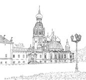 Sketch of the Resurrection Cathedral. The sketch of the Resurrection Cathedral in Vologda. Russia Stock Photo
