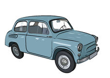 Sketch of a retro car on a white background. Vector illustration Stock Photo