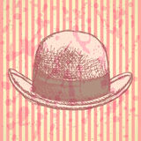 Sketch retro gentelmen  hat, vector  background Stock Images