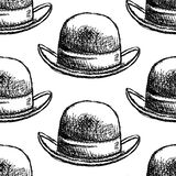 Sketch retro gentelmen  hat, vector  seamless pattern Royalty Free Stock Photos