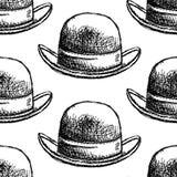 Sketch retro gentelmen  hat, vector  seamless pattern. Sketch retro gentelmen  hat, vector vintage seamless pattern Royalty Free Stock Photos