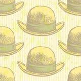 Sketch retro gentelmen  hat, vector  seamless pattern. Sketch retro gentelmen  hat, vector vintage seamless pattern Royalty Free Stock Images