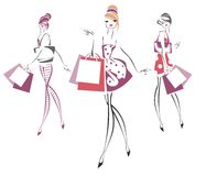 Sketch retro girls Royalty Free Stock Images