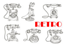 Sketch of retro telephones with rotary dials Royalty Free Stock Image
