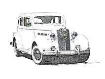 Sketch retro vintage white luxury car Stock Images