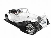 Sketch retro vintage white luxury car Stock Photography